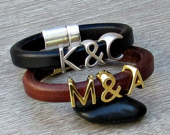 Personalized Couples Bracelets 2x Initial Monogram Matching Bracelets, his and her bracelet,Customized to your wrist