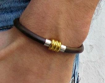 Boyfriend Gift, Mens Leather Bracelet, Mens Gift, For Him, Boyfriend, For Boyfriend, Mens, For Men, Gift for men, Customized On Your Wrist