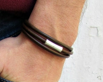 Wrap Mens Leather Bracelet Cuff, SilverTube Mens Bracelet Customized To Your Wrist