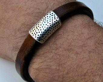 Men Leather Bracelet Leather Mens Bracelet Cuff Brown Black Silver Plated Magnetic Clasp Customized On Your Wrist Fathers day gift