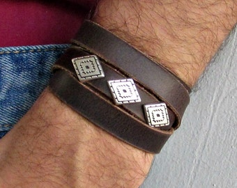 Rhombus Mens Leather Wrap Bracelet Cuff, Geometric Unisex Bracelet, Adjustable to your wrist