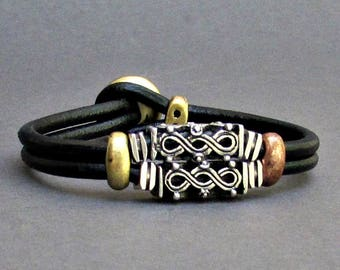 Bracelet For Him Beaded Bracelet Mens Leather Bracelet, Antique Silver Plated, Customized On Your WristFathers day gift