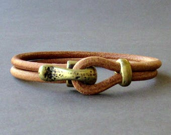 Nautical Hook Mens Bracelet, Antique Bronze Leather Bracelet, Antique Silver Plated, Rustic Mens Bracelet Customized On Your Wrist