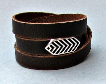 Arrowhead Men's Leather Wrap Bracelet Cuff, Geometric Unisex Bracelet, Adjustable to your wrist