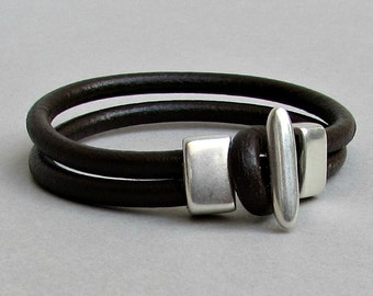 Mens Leather Bracelet Leather Men Bracelet Cuff  Brown Black Antique Silver Plated Customized On Your WristFathers day gift