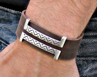 Mens Leather Bracelet Mens Geometric Bracelet Cuff Vegetable Tanned Leather Bracelet 20mm Customized On Your WristFathers day gift