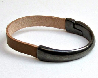 Gunmetal Bracelet Black Metal  Mens Leather bracelet Cuff Magnetic Clasp Customized On Your WristFathers day gift