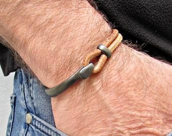Men's Gunmetal Leather Bracelet Cuff, Black Bracelet, Ruthenium Plated Bracelet, Customized On Your Wrist Fathers day gift