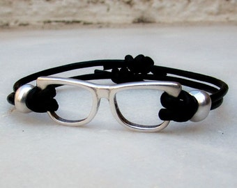 Silver glasses Mens Womens Leather Bracelet  Adjustable to your wrist
