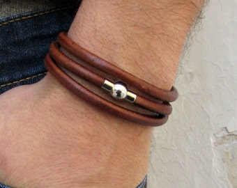 Mens Leather Wrap Bracelet Cuff, Silver Mens cord Bracelet Boyfriend Gift, Husband Gift, Customized To Your Wrist