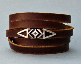 Geometric Men's Leather Wrap Bracelet Cuff, Boho, Unisex Leather Bracelet, Adjustable to your wrist