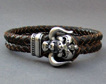 Dragon Head Braided Leather Bracelet, Mens Stainless Steel Leather bracelet Cuff Gift For Men Customized On Your Wrist