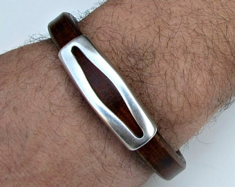Mens Leather Bracelet Mens Leather Cuff Brown Black Antique Silver Plating Magnetic Clasp Customized On Your WristFathers day gift