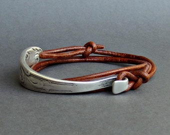 Silver Spoon Bracelet, Silverware Jewelry, Eco Friendly Fork Bracelet, Wrap Leather Bracelet, Adjustable