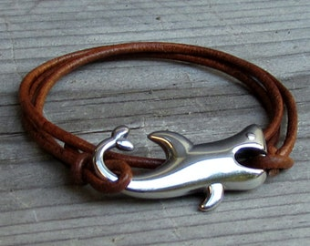 Shark Leather Bracelet, Boho Mens Bracelet, Surfer wrap Bracelet, Adjustable