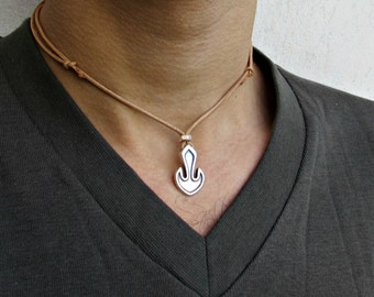 Anchor necklace for men, men's anchor necklace with leather cord, silver charm. gift for him, surfer beach nautical necklace, men jewelry