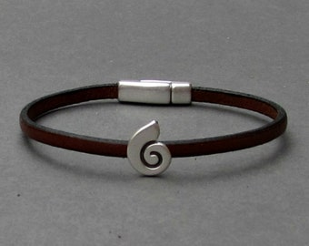Ocean Wave Bracelet Mens Tiny Leather Bracelet Wave Dainty Bracelet Boyfriend Gift Customized On Your Wrist width 3mm