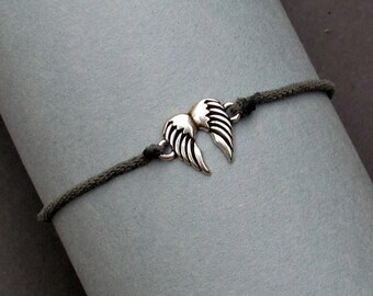 Angel Wings Bracelet, Silver Angel Wings Charm, Cord Bracelet For Men, Elastic Bracelet, Bestfriend Bracelet, Adjustable  6 - 9 1/2 Inches