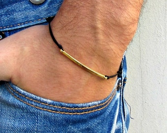 Men's Hammered Bar Bracelet, Silver, Gold, Cord Bracelet For Men, gift for him, Boyfriend Gift, Mens Jewelry Adjustable