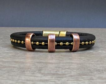 Mens Leather Bracelet, Copper Bronze Leather Mens Chain  Bracelet Cuff, Bracelet For Men, Silver Plating Customized On Your Wrist