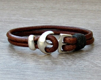 Anchor Mens Bracelet Mens Leather bracelet Cuff  Customized On Your Wrist