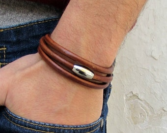 Silver Mens Leather Bracelet Cuff, Wrap Stainless Steel Mens cord Bracelet Boyfriend Gift, Husband Gift, Customized To Your Wrist