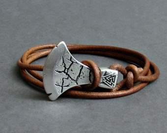 Axe Bracelet For Men Leather Wrap Bracelet Celtic Axe Bracelet Viking Axe Bracelet Adjustable