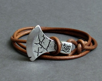 Axe Bracelet For Men Leather Wrap Bracelet Celtic Axe Bracelet Viking Axe Bracelet Adjustable NEW