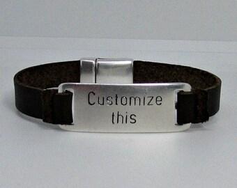Custom Engraved Bracelet Mens Personalized Leather Bracelet, Unisex, Engraved Bracelet, Gift For Men Women, Boyfriend Gift, Adjustable