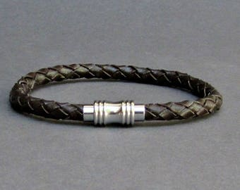 Mens Braided, Leather Bracelet Titanium Stainless Steel Mens Leather bracelet Cuff Gift For Men Customized On Your WristFathers day gift