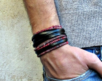Boho Leather Wrap Bracelet Cuff Unisex Multicolor Multistrand Bracelet Customized To Your Wrist