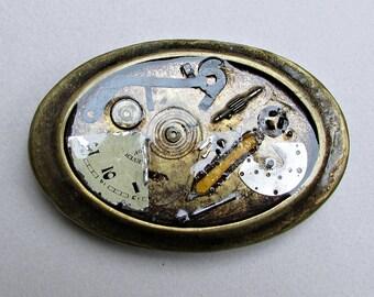 Belt Buckle, Watch Parts, Steampunk, Oval, Antique Brass Oxidation, 6cm x 9cm , Industrial Statement, Men, Women, Gift