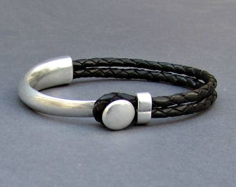 Braided Leather Bracelet, braided, bracelet For Men, Black Brown Leather Mens Bracelet, Silver Plated Customized On Your Wrist