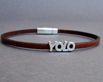 Quote Bracelet Mens Tiny Leather Bracelet YOLO Dainty Bracelet Boyfriend Gift Customized On Your Wrist width 3mm Fathers day gift