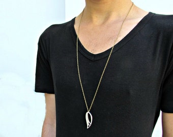 Angel Wing Mens Necklace Mens Minimal Long Necklace Mens Silver Necklace Mens Jewelry