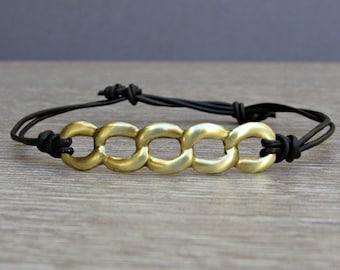 Unisex Bronze Chain leather cord bracelet Adjustable