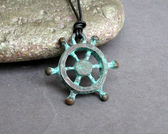 Nautical wheel Mens Necklace Pendant Blue Green Mens Necklace Pendant Adjustable