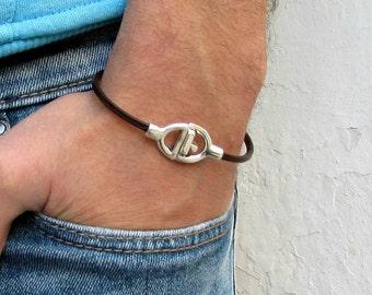 Leather Mens Bracelet, Mens, For Men,  Boyfriend, For Husband, For Boyfriend, Gift for Men, For Him, Boyfriend Gift Customized On Your Wrist