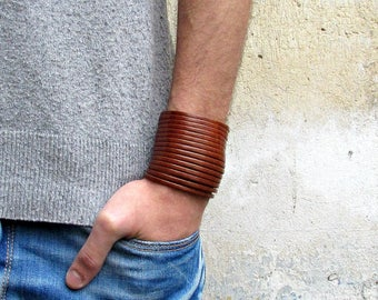 Multistrand Leather BraceletGenuine Leather Cuff Sliced Bracelet  Real Leather Cuff Unisex Bracelet-Available 9 colors