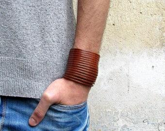 Multistrand Leather BraceletGenuine Leather Cuff Sliced Bracelet  Real Leather Cuff Unisex Bracelet-Available 9 colors