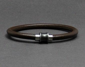Gunmetal Mens Bracelet Stainless Steel, Leather Bracelet For Men, For Husband,  For Boyfriend, Boyfriend Gift, Customised On Your Wrist
