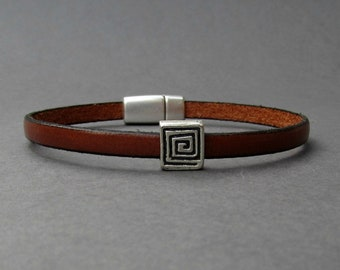 Meander Bracelet For Men Silver Leather Bracelet Cuff Boyfriend Gift Customized On Your Wrist