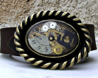Steampunk Accessory, Leather Belt Buckle, Mens Womens Belt Buckle