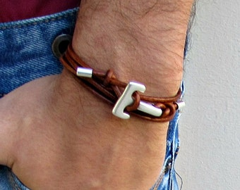 Silver Anchor Hook Mens Leather Bracelet Cuff Mens Nautical Wrap Bracelet Adjustable