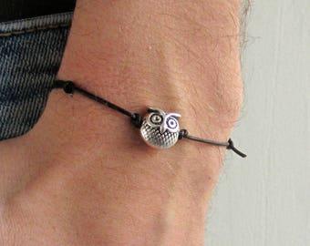 Owl, Men's Bracelet, Silver Owl Charm, Leather Bracelet For Men, Gift for him, Bestfriend Bracelet, mens jewelry, Adjustable