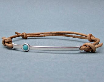 Gemstone, Silver Bar Bracelet, Mens, Unisex Leather Cord Bracelet His And Hers Silver Dainty Bracelet Adjustable