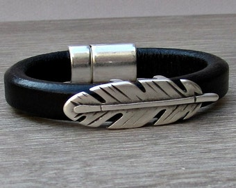 Feather Leather Bracelet Men's Leather Bracelet Leather Mens Bracelet Cuff With Silver Plating Magnetic Clasp Customized On Your Wrist