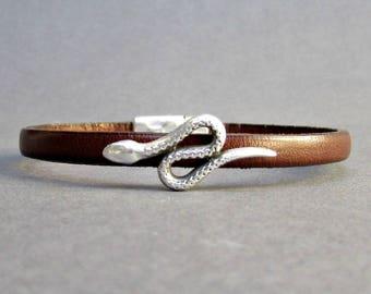 Snake Mens Leather Bracelet Cuff Dainty Silver Unisex Bracelet Customized On Your WristFathers day gift