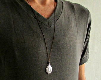Drop Mens Necklace Pendant Silver Mens Necklace Pendant Adjustable