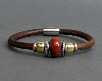 Carnelian Leather Bracelet For Men Women Beaded Gemstone Bracelet Silver Bracelet Boyfriend Gift Mens Jewelry customized to your wrist